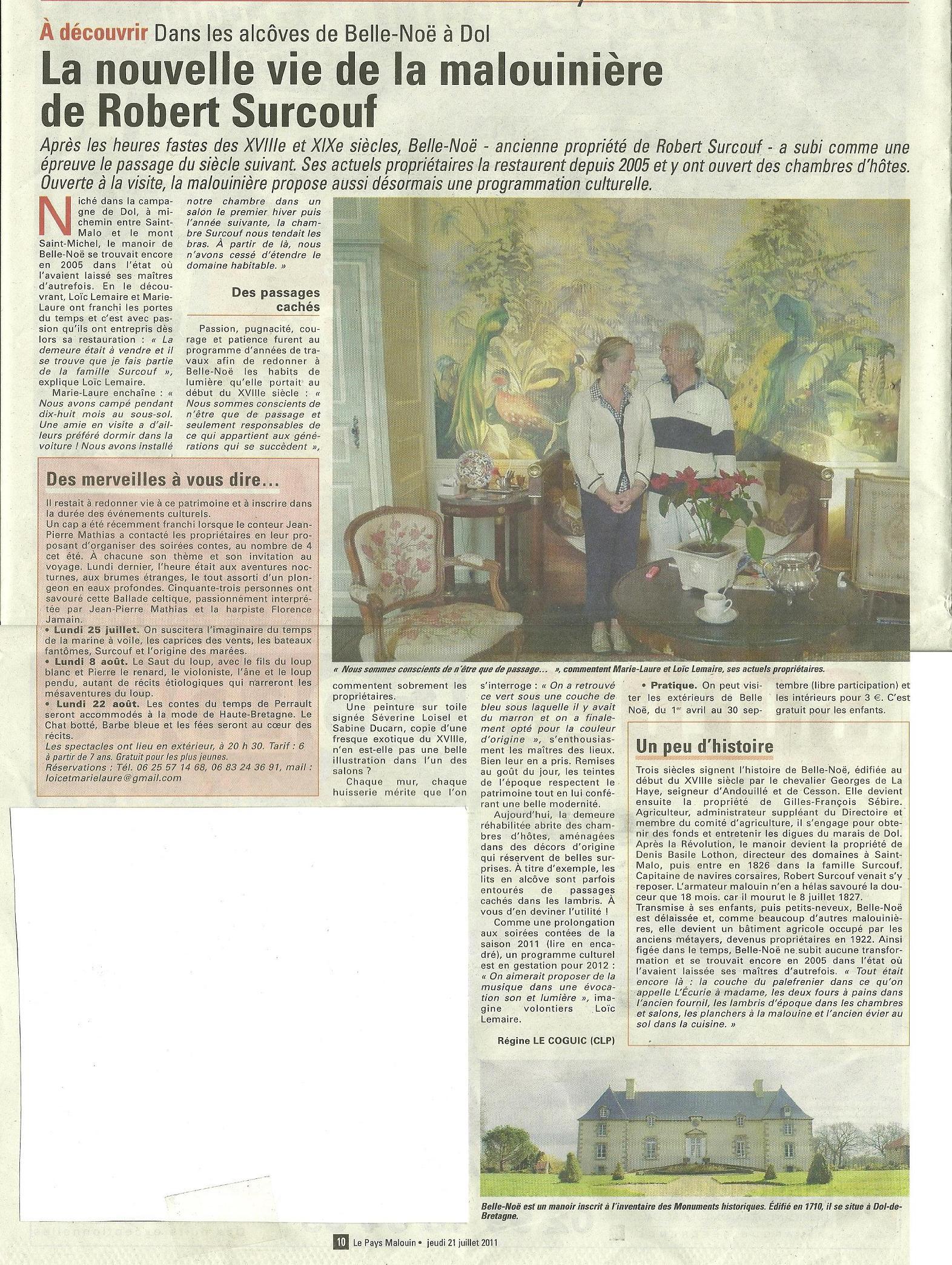 Belle-Noë dans un article du Pays Malouin en juillet 2011